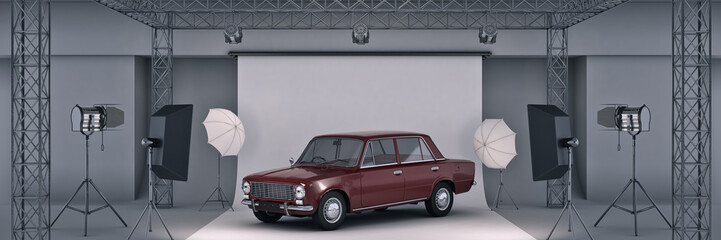 photo studio with old car. 3d rendering