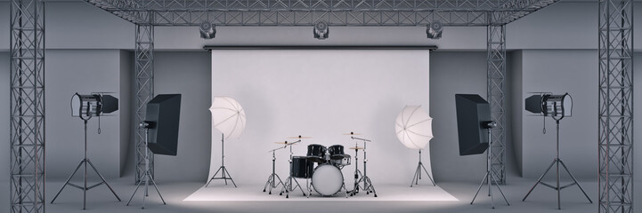 photo studio with a black drum set. 3d rendering