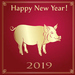 Year of The Yellow Pig. 2019 year.