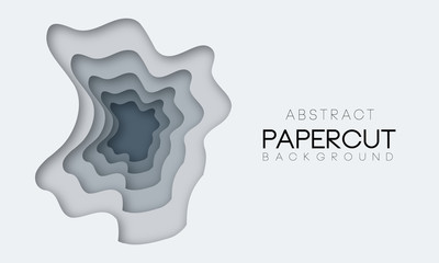 Abstract paper cut background with multicolored shapes in different grey colors.