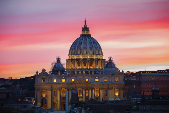 The Papal Basilica of St. Peter in the Vatican at sunset in the evening, Rome