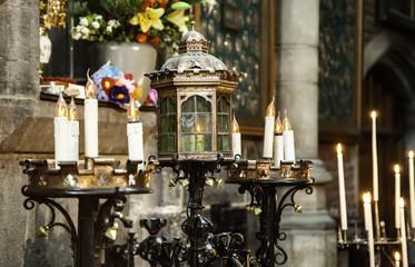 Wax candles in a church