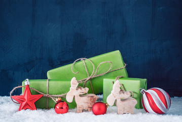 Green Christmas Gifts, Snow, Copy Space, Blue Background