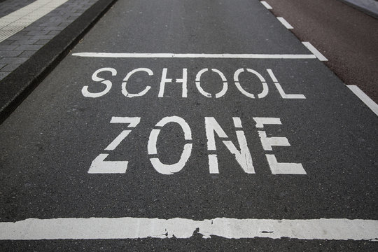 School signal on the asphalt