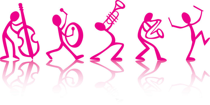 Band musicians playing music, vector ideal for t-shirts pink