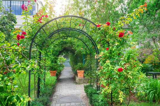 Arched entrance with roses