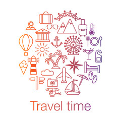 Travel time colored poster with sun, helicopter, mountain, tower, palm tree, island and balloon. Vector illustration isolated on white background