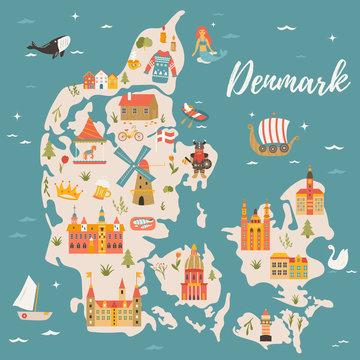 Illustrated map of Kingdom of Denmark,