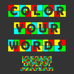 Colorful letters and numbers set. Colored vector latin alphabet.Rainbow color font.Color paper applique ABC typography