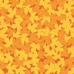 Vector seamless repeat pattern fall maple leaf texture with orange and yellow leaves on dark orange background. Great for fabric, paper, stationary and other goods. Surface pattern design.