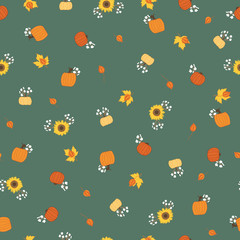 Vector seamless repeat pattern fall ditsie flowers sunflowers and pumpkins. Great for fabric, quilting, paper, and other textiles. Surface pattern design.