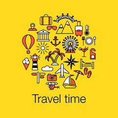 Flat colored outline graphic image concept, website elements layout of Time to Travel