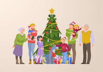 Flat happy family grandparents Christmas tree gift box vector