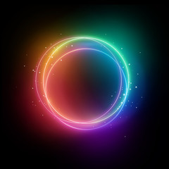 3d render, colorful neon lights, sparkling round frame, blank space for text, ultraviolet spectrum, ring symbol, halo, isolated on blank background