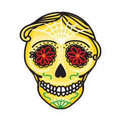 Calavera sign Dia de los muertos. Mexican Day of the dead. Vector hand drawing illustration man sticker