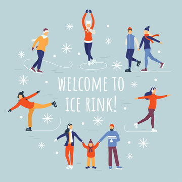 People ice skating vector illustration. Winter ice rink party with cartoon characters and falling snow. Flat composition for your design. Eps 10.