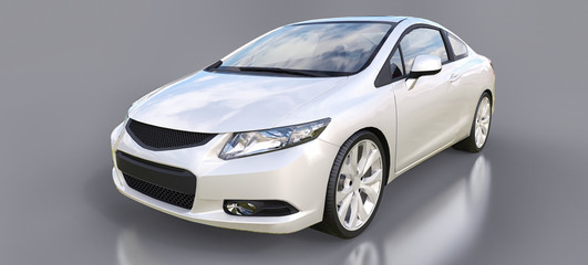 White small sports car coupe. 3d rendering.