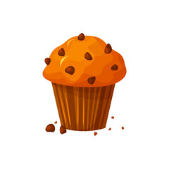 Vector cartoon style illustration of sweet cupcake. Delicious sweet dessert. Muffin isolated on white background.
