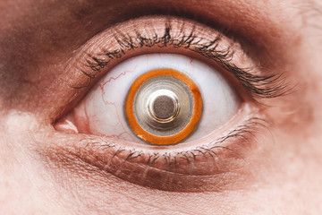 Eye with alkalin battery, instead of pupil, the concept of human use of various stimulants