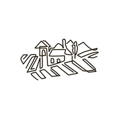 Vector Line icon. Vineyard landscape. One line drawing. Isolated on white background