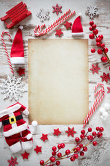 Bright Christmas Flat Lay, Vertical Paper, Copy Space