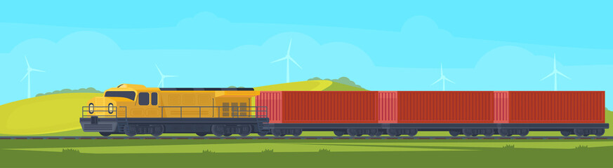 Freight train with container on railway car. Transportation by railroad. Nature landscape in a hilly area. Vector flat illustration.