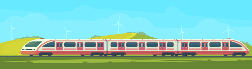 Passanger modern electric high-speed train with nature landscape in a hilly area. Railway transport. Travel by train. Vector flat illustation.
