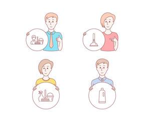 People hand drawn style. Set of Household service, Plunger and Cleaning service icons. Shampoo sign. Cleaning equipment, Clogged pipes cleaner, Bucket with mop. Bath cleanser. Vector