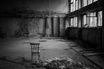 verlassene Turnhalle in der Sperrzone von Tschernobyl Ukraine