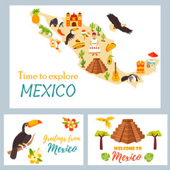 Map of Mexico with destinations, animals landmarks