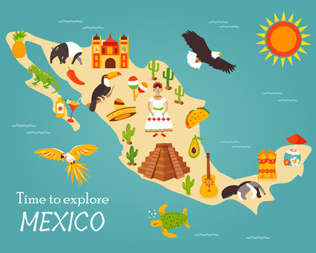 Map of Mexico with destinations, animals, landmarks