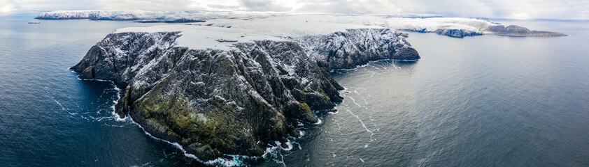 Drone view on the North Cape in Norway