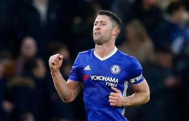 Chelsea's Gary Cahill celebrates scoring their first goal
