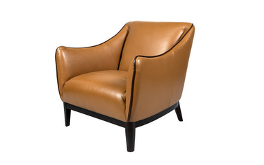 Leather brown retro armchair isolated on white