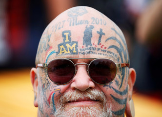 An Invictus Games tattoo is seen on a participant during the Invictus Games at the Royal Botanic Garden in Sydney