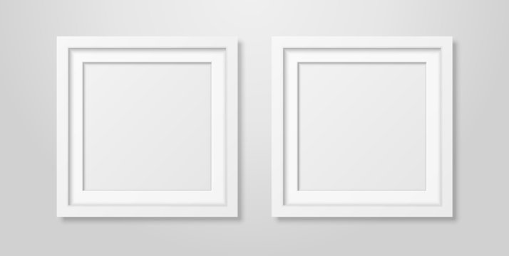 Two Vector Realistic Modern Interior White Blank Square Wooden Poster Picture Frame Mock-up Set Closeup on White Wall. Empty Poster Frames Design Template for Mockup, Presentation, Image or text