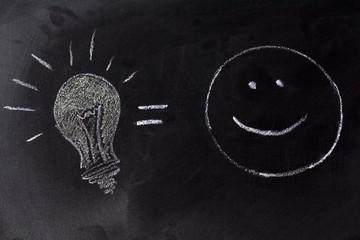 Drawing lamp on blackboard. Idea and Creativity Concept