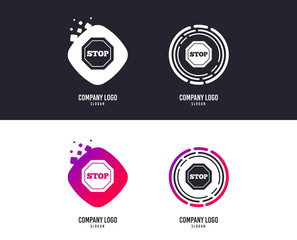 Logotype concept. Traffic stop sign icon. Caution symbol. Logo design. Colorful buttons with icons. Vector
