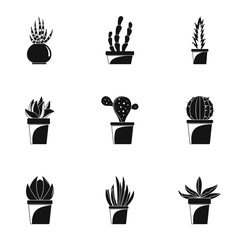 Home cacti icon set. Simple set of 9 home cacti vector icons for web design on white background