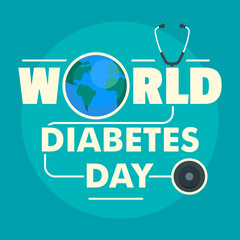 World diabetes day concept background. Flat illustration of world diabetes day vector concept background for web design