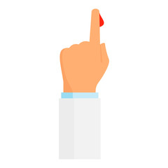 Blood from hand finger icon. Flat illustration of blood from hand finger vector icon for web design