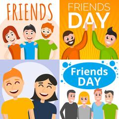 Friends day banner set. Cartoon illustration of friends day vector banner set for web design