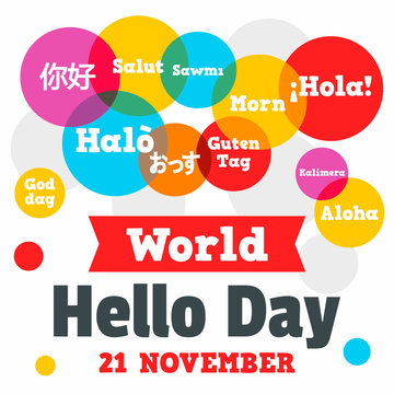World hello day concept background. Flat illustration of world hello day vector concept background for web design