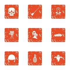 Military masquerade icons set. Grunge set of 9 military masquerade vector icons for web isolated on white background