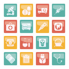 Medical, hospital and health care icons over colored background - vector icon set