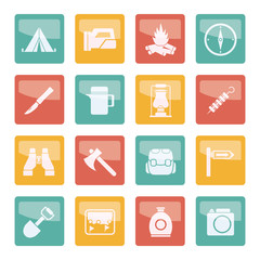 Tourism and hiking icons over colored background - vector icon set