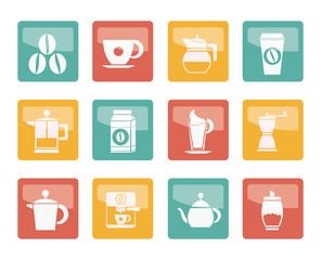 Coffee industry signs and icons over colored background - vector icon set