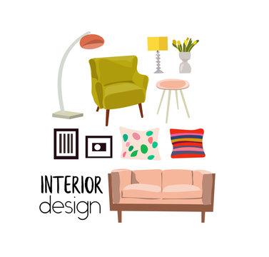 vector interior design elements. modern furniture living room. sofa, armchair. mood board. mid century modern style furniture. mood board.