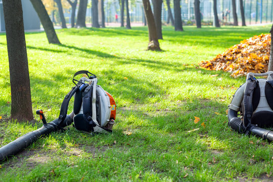 Heavy duty foliage blower lying on clean grass in city park in autumn. Seasonal leaves cleaning and removal service in fall