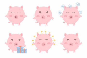 Christmas pigs. Chinese symbol of the 2019 year. Symbol of the New Year